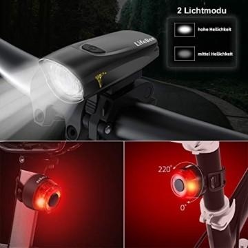 LIFEBEE LED Fahrradlicht, StVZO Zugelassen USB Wiederaufladbare Fahrradbeleuchtung Fahrradlicht Vorne Rücklicht Set, Wasserdicht Fahrradlichter Set Fahrrad Licht Fahrradlampe mit 2 Licht-Modi - 2