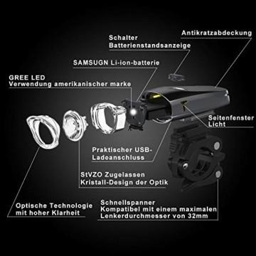 LIFEBEE LED Fahrradlicht, StVZO Zugelassen USB Wiederaufladbare Fahrradbeleuchtung Fahrradlicht Vorne Rücklicht Set, Wasserdicht Fahrradlichter Set Fahrrad Licht Fahrradlampe mit 2 Licht-Modi - 3