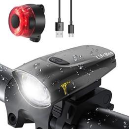 LIFEBEE LED Fahrradlicht, StVZO Zugelassen USB Wiederaufladbare Fahrradbeleuchtung Fahrradlicht Vorne Rücklicht Set, Wasserdicht Fahrradlichter Set Fahrrad Licht Fahrradlampe mit 2 Licht-Modi - 1