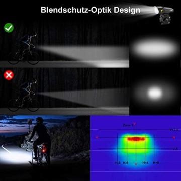 LIFEBEE LED Fahrradlicht, StVZO Zugelassen USB Wiederaufladbare Fahrradbeleuchtung Fahrradlicht Vorne Rücklicht Set, Wasserdicht Fahrradlichter Set Fahrrad Licht Fahrradlampe mit 2 Licht-Modi - 4