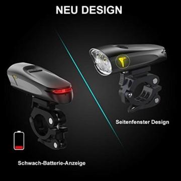 LIFEBEE LED Fahrradlicht, StVZO Zugelassen USB Wiederaufladbare Fahrradbeleuchtung Fahrradlicht Vorne Rücklicht Set, Wasserdicht Fahrradlichter Set Fahrrad Licht Fahrradlampe mit 2 Licht-Modi - 5