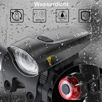 LIFEBEE LED Fahrradlicht, StVZO Zugelassen USB Wiederaufladbare Fahrradbeleuchtung Fahrradlicht Vorne Rücklicht Set, Wasserdicht Fahrradlichter Set Fahrrad Licht Fahrradlampe mit 2 Licht-Modi - 6