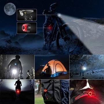 LIFEBEE LED Fahrradlicht, StVZO Zugelassen USB Wiederaufladbare Fahrradbeleuchtung Fahrradlicht Vorne Rücklicht Set, Wasserdicht Fahrradlichter Set Fahrrad Licht Fahrradlampe mit 2 Licht-Modi - 7