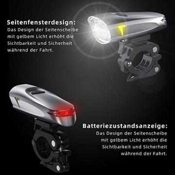 LIFEBEE Neueste Modell LED Fahrradlicht Set, StVZO Zugelassen USB Fahrradbeleuchtung Aufladbar Fahrradlampe, Wasserdicht Fahrradlichter Vorne Akku Wiederaufladbar Batterie Licht für Fahrrad - 2