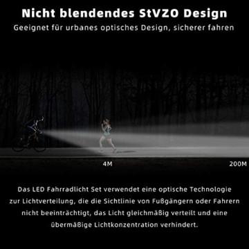 LIFEBEE Neueste Modell LED Fahrradlicht Set, StVZO Zugelassen USB Fahrradbeleuchtung Aufladbar Fahrradlampe, Wasserdicht Fahrradlichter Vorne Akku Wiederaufladbar Batterie Licht für Fahrrad - 3
