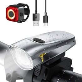 LIFEBEE Neueste Modell LED Fahrradlicht Set, StVZO Zugelassen USB Fahrradbeleuchtung Aufladbar Fahrradlampe, Wasserdicht Fahrradlichter Vorne Akku Wiederaufladbar Batterie Licht für Fahrrad - 1