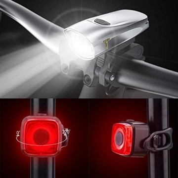 LIFEBEE Neueste Modell LED Fahrradlicht Set, StVZO Zugelassen USB Fahrradbeleuchtung Aufladbar Fahrradlampe, Wasserdicht Fahrradlichter Vorne Akku Wiederaufladbar Batterie Licht für Fahrrad - 4