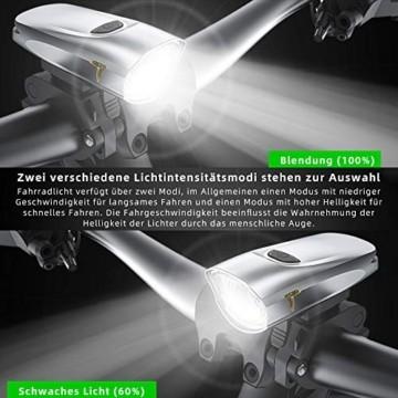 LIFEBEE Neueste Modell LED Fahrradlicht Set, StVZO Zugelassen USB Fahrradbeleuchtung Aufladbar Fahrradlampe, Wasserdicht Fahrradlichter Vorne Akku Wiederaufladbar Batterie Licht für Fahrrad - 5