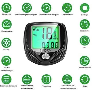 Likey Fahrradcomputer Kabellos,16 Funktionen Fahrrad Computer,wasserdichte, LCD Display,Fahrradtacho Radcomputer Tacho (Schwarz) - 3