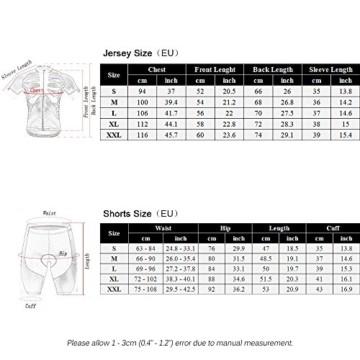 Lixada Herren Radtrikot Set, Atmungsaktiv Quick-Dry Kurzarm Radsport-Shirt + Gel Gepolsterte Shorts, (Schwarz&Weiß, M) - 3