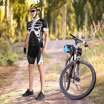 Lixada Herren Radtrikot Set, Atmungsaktiv Quick-Dry Kurzarm Radsport-Shirt + Gel Gepolsterte Shorts, (Schwarz&Weiß, M) - 4