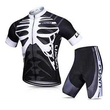 Lixada Herren Radtrikot Set, Atmungsaktiv Quick-Dry Kurzarm Radsport-Shirt + Gel Gepolsterte Shorts, (Schwarz&Weiß, M) - 1