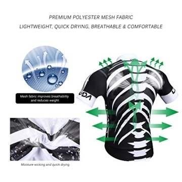 Lixada Herren Radtrikot Set, Atmungsaktiv Quick-Dry Kurzarm Radsport-Shirt + Gel Gepolsterte Shorts, (Schwarz&Weiß, M) - 6