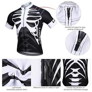 Lixada Herren Radtrikot Set, Atmungsaktiv Quick-Dry Kurzarm Radsport-Shirt + Gel Gepolsterte Shorts, (Schwarz&Weiß, M) - 7