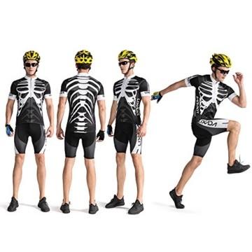 Lixada Herren Radtrikot Set, Atmungsaktiv Quick-Dry Kurzarm Radsport-Shirt + Gel Gepolsterte Shorts, (Schwarz&Weiß, M) - 8
