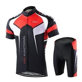 Lixada Herren Radtrikot Set Fahrrad Kurzarm Set Schnelltrocknend Atmungsaktives Shirt + 3D Cushion Shorts Gepolsterte Hose - 1