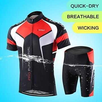 Lixada Herren Radtrikot Set Fahrrad Kurzarm Set Schnelltrocknend Atmungsaktives Shirt + 3D Cushion Shorts Gepolsterte Hose - 4
