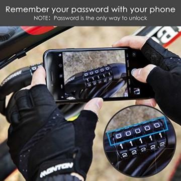 Looxmeer Fahrradschloss Kabelschloss Fahrrad, Hohe Sicherheitsstufe Zahlenschloss mit 5-stelligem Zahlencode für Fahrrad, Motorrad und Elektrofahrzeuge, Schwarz - 2
