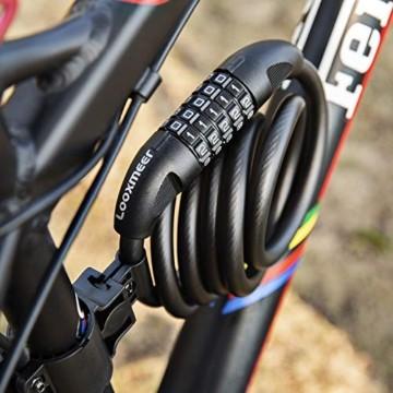 Looxmeer Fahrradschloss Kabelschloss Fahrrad, Hohe Sicherheitsstufe Zahlenschloss mit 5-stelligem Zahlencode für Fahrrad, Motorrad und Elektrofahrzeuge, Schwarz - 3