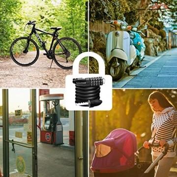 Looxmeer Fahrradschloss Kabelschloss Fahrrad, Hohe Sicherheitsstufe Zahlenschloss mit 5-stelligem Zahlencode für Fahrrad, Motorrad und Elektrofahrzeuge, Schwarz - 7