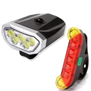LYYHUA Fahrradlicht Set (2 Pack), wiederaufladbare Fahrradlichter, wasserdichte Fahrrad LED Frontlicht, Fahrradbeleuchtung Fahrradlicht Vorne Rücklicht Set - 1