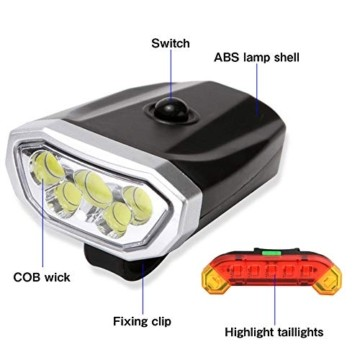 LYYHUA Fahrradlicht Set (2 Pack), wiederaufladbare Fahrradlichter, wasserdichte Fahrrad LED Frontlicht, Fahrradbeleuchtung Fahrradlicht Vorne Rücklicht Set - 5