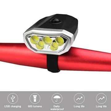 LYYHUA Fahrradlicht Set (2 Pack), wiederaufladbare Fahrradlichter, wasserdichte Fahrrad LED Frontlicht, Fahrradbeleuchtung Fahrradlicht Vorne Rücklicht Set - 6
