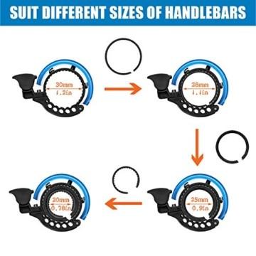 Malker Fahrradklingel,2020 Aluminiumlegierung O-Design Innovative Fahrrad Ring, klaren Sound Fahrradklingeln,ür Lenker von 22,2 bis 31.8mm(Blau) - 3