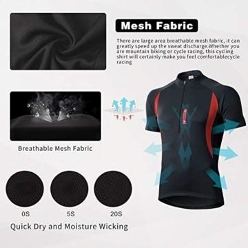 MEETWEE Herren Radtrikot Fahrradtrikot Kurzarm, Fahrradbekleidung Fahrrad Trikot T Shirt für Männer, Atmungsaktive Cycling Jersey Schnell Trocknen Radsport Bekleidung - 5