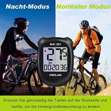 MEILAN M3 Mini GPS Fahrradcomputer Kabellos, Fahrradtacho Drahtlos Wasserdicht Tachometer Kilometerzähler mit LCD Bildschirm für Männer Frauen Teenager (Schwarz) - 2