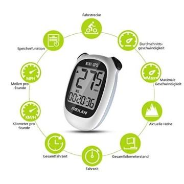 MEILAN M3 Mini GPS Fahrradcomputer Kabellos, Fahrradtacho Drahtlos Wasserdicht Tachometer Kilometerzähler mit LCD Bildschirm für Männer Frauen Teenager Biker (Weiß) - 4