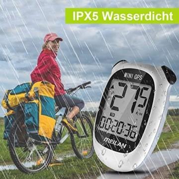 MEILAN M3 Mini GPS Fahrradcomputer Kabellos, Fahrradtacho Drahtlos Wasserdicht Tachometer Kilometerzähler mit LCD Bildschirm für Männer Frauen Teenager Biker (Weiß) - 5