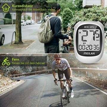 MEILAN M3 Mini GPS Fahrradcomputer Kabellos, Fahrradtacho Drahtlos Wasserdicht Tachometer Kilometerzähler mit LCD Bildschirm für Männer Frauen Teenager Biker (Weiß) - 7