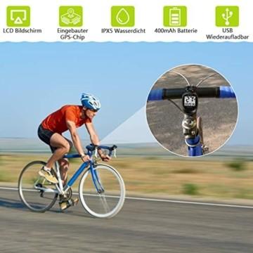 MEILAN M3 Mini GPS Fahrradcomputer Kabellos, Fahrradtacho Drahtlos Wasserdicht Tachometer Kilometerzähler mit LCD Bildschirm für Männer Frauen Teenager (Schwarz) - 3