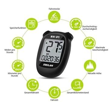 MEILAN M3 Mini GPS Fahrradcomputer Kabellos, Fahrradtacho Drahtlos Wasserdicht Tachometer Kilometerzähler mit LCD Bildschirm für Männer Frauen Teenager (Schwarz) - 4