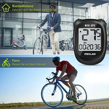 MEILAN M3 Mini GPS Fahrradcomputer Kabellos, Fahrradtacho Drahtlos Wasserdicht Tachometer Kilometerzähler mit LCD Bildschirm für Männer Frauen Teenager (Schwarz) - 5