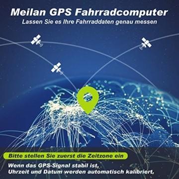 MEILAN M3 Mini GPS Fahrradcomputer Kabellos, Fahrradtacho Drahtlos Wasserdicht Tachometer Kilometerzähler mit LCD Bildschirm für Männer Frauen Teenager (Schwarz) - 6