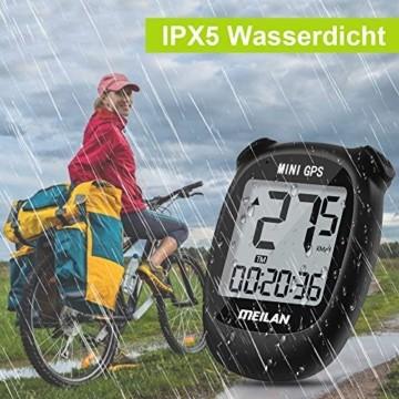 MEILAN M3 Mini GPS Fahrradcomputer Kabellos, Fahrradtacho Drahtlos Wasserdicht Tachometer Kilometerzähler mit LCD Bildschirm für Männer Frauen Teenager (Schwarz) - 7
