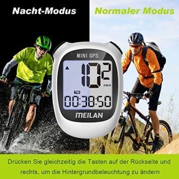 MEILAN M3 Mini GPS Fahrradcomputer Kabellos, Fahrradtacho Drahtlos Wasserdicht Tachometer Kilometerzähler mit LCD Bildschirm für Männer Frauen Teenager Biker (Weiß) - 2