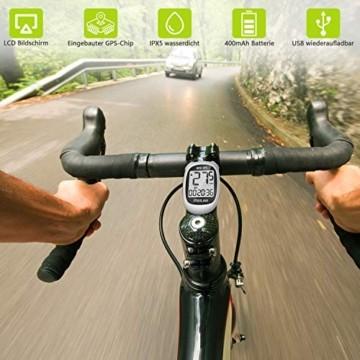MEILAN M3 Mini GPS Fahrradcomputer Kabellos, Fahrradtacho Drahtlos Wasserdicht Tachometer Kilometerzähler mit LCD Bildschirm für Männer Frauen Teenager Biker (Weiß) - 3