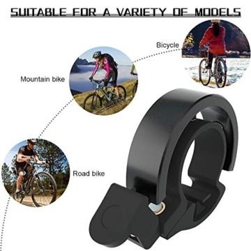 Meowtutu Fahrradklingel, Q Bell laut und hell Radfahren Fahrradglocke MTB Mountainbike Alarm Horn Ring Fahrrad Ring für 22.2-23mm Lenker (Schwarz, 1 Packung) - 2
