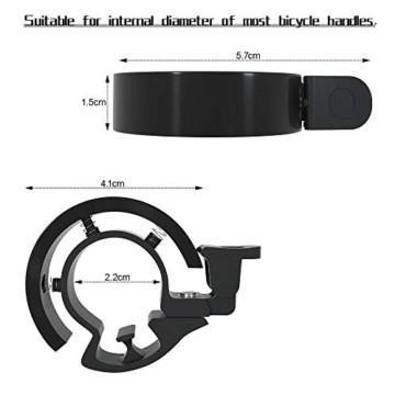Meowtutu Fahrradklingel, Q Bell laut und hell Radfahren Fahrradglocke MTB Mountainbike Alarm Horn Ring Fahrrad Ring für 22.2-23mm Lenker (Schwarz, 1 Packung) - 5