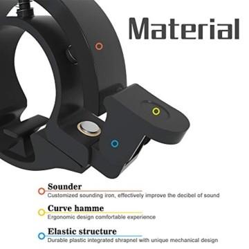 Meowtutu Fahrradklingel, Q Bell laut und hell Radfahren Fahrradglocke MTB Mountainbike Alarm Horn Ring Fahrrad Ring für 22.2-23mm Lenker (Schwarz, 1 Packung) - 6