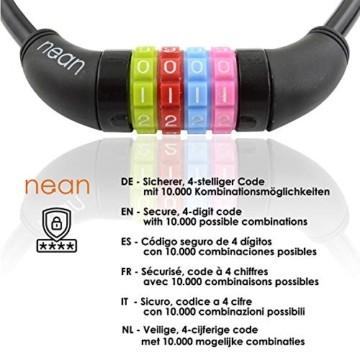 nean Fahrradschloss für Kinder, Zahlen-Code-Kombination-Kabel-Schloss, Schwarz, 10 x 650 mm - 5