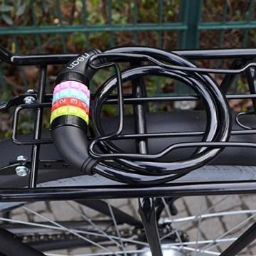 nean Fahrradschloss für Kinder, Zahlen-Code-Kombination-Kabel-Schloss, Schwarz, 10 x 650 mm - 8