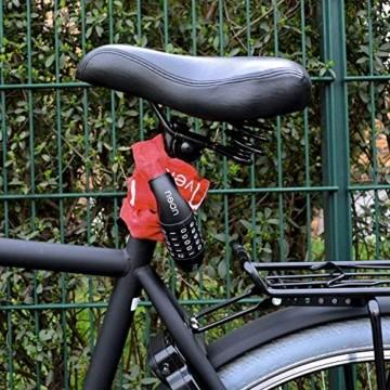 nean Fahrradschloss mit Zahlen und hoher Sicherheitsstufe, Fahrrad-Ketten-Schloss, Zahlen-Code-Kombination-Schloss, gehärtete Stahlkettenglieder, 6 mm x 900 mm, Rot - 7