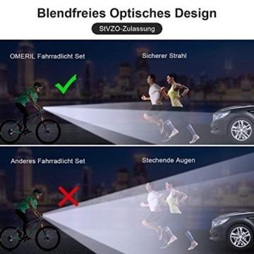 OMERIL LED Fahrradlicht Set Fahrradbeleuchtung STVZO Zugelassen Fahrradlampe USB Aufladbar und Wasserdicht Fahrrad Licht mit Frontlicht und Rücklicht (Rotlicht). Sturdy & Duragable (1 modi/ABS) - 2