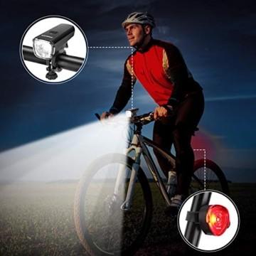 OMERIL LED Fahrradlicht Set Fahrradbeleuchtung STVZO Zugelassen Fahrradlampe USB Aufladbar und Wasserdicht Fahrrad Licht mit Frontlicht und Rücklicht (Rotlicht). Sturdy & Duragable (1 modi/ABS) - 3