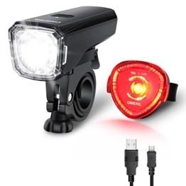 OMERIL LED Fahrradlicht Set Fahrradbeleuchtung STVZO Zugelassen Fahrradlampe USB Aufladbar und Wasserdicht Fahrrad Licht mit Frontlicht und Rücklicht (Rotlicht). Sturdy & Duragable (1 modi/ABS) - 1