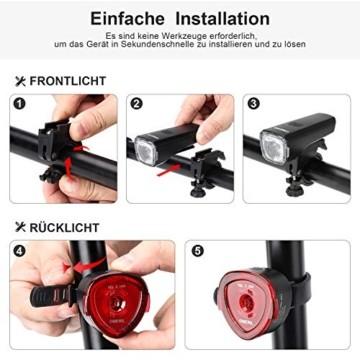 OMERIL LED Fahrradlicht Set Fahrradbeleuchtung STVZO Zugelassen Fahrradlampe USB Aufladbar und Wasserdicht Fahrrad Licht mit Frontlicht und Rücklicht (Rotlicht). Sturdy & Duragable (1 modi/ABS) - 4